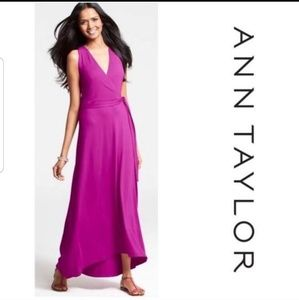 New Ann Taylor Surplice Wrap Fuschia  Maxi Dress